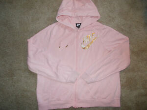 NIKE FULL ZIP PINK HOODED SWEATSHIRT JACKET WOMENS LARGE EXCELLENT CONDITION