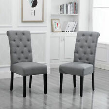 4x Gray Dining Chairs High Back Fabric Upholstered Button Tufted Dining Room