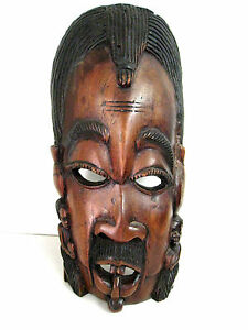 "19.5"" Large African Tribe / Tribal Wood Crafted Mask Wall Art Decor Hand Carved"