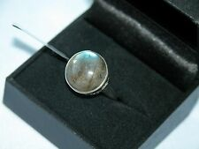 LOT 457 SUPERB ROUND LABRADORITE SCROLLED SOLID STERLING SILVER RING SIZE J 1/2