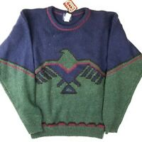 NWT VINTAGE WOOLRICH Men's Pure Wool Crew Neck Thunderbird Shetland Knit Sweater