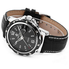 Men's Black Dial ORKINA Silver Stainless Steel Leather Band Quartz Wrist Watch C