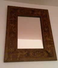 "Hanging Wall Mirror Regal Lion Wooden Brown Border 9x11 5x7"""