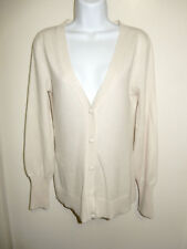 LUXE ARDEN B. 100% CASHMERE WINTER WHITE IVORY TINT V-NECK CARDIGAN SWEATER S
