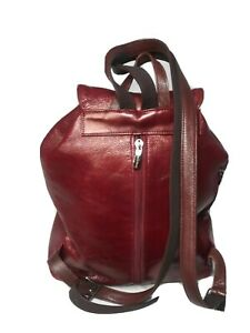 Vincis Bench Backpack Red Leather Daypack