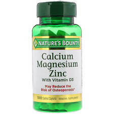 Nature's Bounty, (3 Pack) Calcium Magnesium Zinc with Vitamin D3, 100 Coated