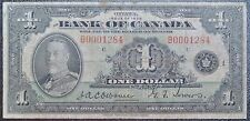 BANK OF CANADA 1935 - $1 NOTE - English - Series B- Low Serial # -Osborne&Towers