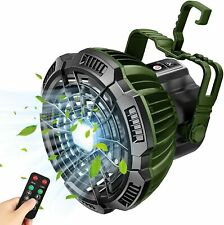 Portable Camping Lantern Tent LED Light w/ Ceiling Fan Rechargeable Outdoor Lamp