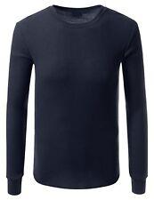 Haute Qualité Bleu Thermique Manche Longue Col Rond T-shirt pour hommes-petit