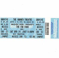 THE FAB FAUX Full Ticket Stub WASHINGTON DC 4/14/07 WARNER THEATRE BEATLES Rare