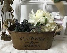 Edelrost Pflanzschale Blumentopf Flowers &Garden Garten Terasse Metall oval 21cm