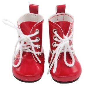 Puppen Schuhe Lack Stiefel Schnürstiefel rot 6 cm lang, Nr. 217