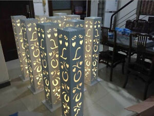 12pc. LED White Wedding LOVE Columns Carved Pillar Decoration Flower Stand