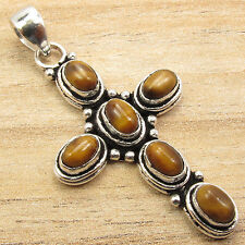 925 Sterling Silver Plated Jewelry ! Cross Pendant ! TIGER'S EYE 6 STONE Gift
