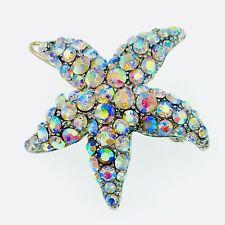 Hair Clip use Swarovski Crystal Hairpin Starfish Seastar Mermaid Elegant AB