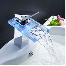 LED Color Changing Waterfall Bathroom Basin Faucet Square Vanity Sink Mixer Tap