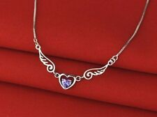 925 Sterling Silver Purple Amethyst Heart Angel Wings Protect Necklace Gift Box