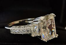 Emerald Cut Solid 14K White Gold Engagement Ring 3 Stone 3ct carats