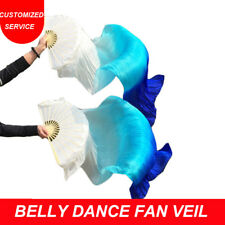 On sale 1 pair cheap belly dance silk fan veil white turquoise blue US Shipping