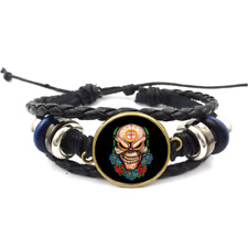 Skull Flowers And Cross Glass Cabochon Bracelet Braided Leather Strap Bracelets