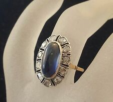 Victorian14K 2-tone Gold Sapphire Domed- Shaped Rose-cut Diamonds Dinner Ring