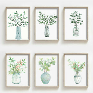 Green Plants Vase Art Prints Poster Wall Picture Bedroom Decor Unframed