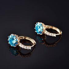 Women Engagement Blue Opal Crystal Gemstone Gold Filled Leverback Hoop Earrings
