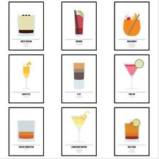 Cocktail Prints Framed Kitchen Wall Art Alcohol Drinks Guide Mixology Poster