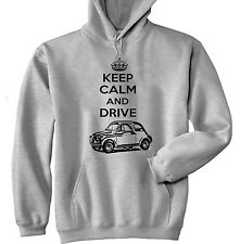 FIAT 500 1958 KEEP CALM AND DRIVE P - GREY HOODIE - ALL SIZES IN STOCK