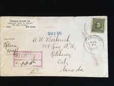 NJ STANHOPE 1922 REGISTERED COVER STAMP DEALER CC #309 TO CANADA RETURN RECEIPT