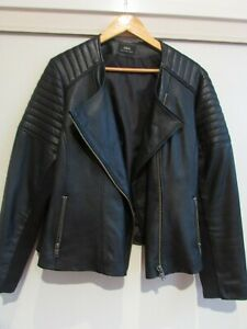 Sara Black Biker Leather Jacket Size 18