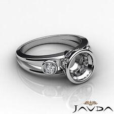 3 Stone Brilliant Round Diamond Engagement 0.5Ct Ring Semi Mount 18k White Gold