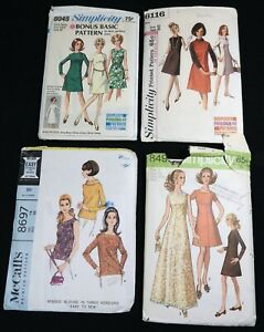 #25 Mixed LOT 4 Vtg 1960s Jumper Dress Blouse SEWING PATTERNS Women Size 12