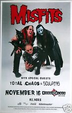 MISFITS / TOTAL CHAOS SAN DIEGO 2014 CONCERT TOUR POSTER -Band Posing In Outfits