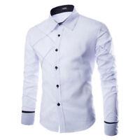 uomo t-shirt manica lunga formale casuale Business alla moda slim moda maglia