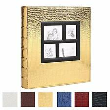 Photo Album For 500 4x6 Photos Leather Cover Extra 500 Pockets Golden For Family