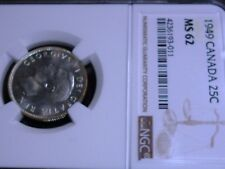 1949 CANADA  25 CENTS NGC UNIRCULATED MS62