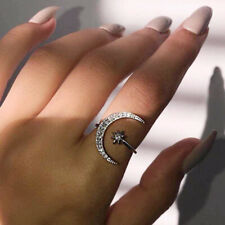 Star Moon 925 Silver,Rose Gold,Gold Women's Rings White Sapphire SizeAdjustable
