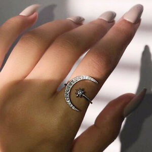 Star Moon Silver, Gold, Rose Gold Open Rings Cubic Zirconia Adjustable Size Ring