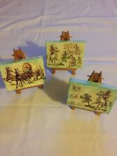 Decoupage Set 3 Pictures With Picture Stand Handmade