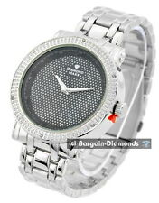 """mens diamond steel tone watch black bling dial ice out 8.5"""" bracelet master maxx"""