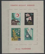 1952 TURKEY 75TH ANNIVERSARY OF RED CRESCENT KIZILAY BLOCK-1 MNH OG LUX