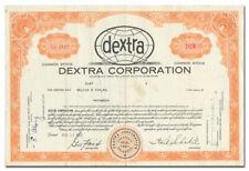 Dextra Corporation Stock Certificate (Sugar)