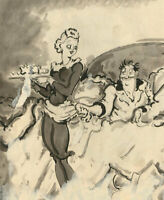Harold Hope Read (1881-1959) - Pen and Ink Drawing, The Waitress