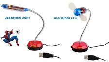 USB Computer Fan & Light for Notebook Laptop Mac PC Desk 2 Spiderman Gadgets New