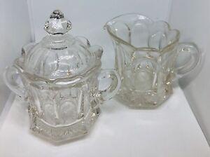 "Vintage Crystal Sugar Bowl With Lid and Creamer 5""-6"" Tall EUC"