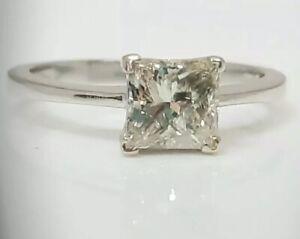 1ct Princess Cut diamond Engagement ring/White gold
