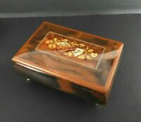 Vintage Music Box Jewelry Inlaid Wood Italy Tornaa Surriento Song Guitar Works
