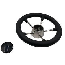 """11"""" 5 Spoke Stainless Steel Boat Steering Wheel for 3/4"""" Shaft New"""