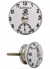 Möbelknauf Möbelgriffe Möbelknopf Modell HATFIELD-ROSS weisser Knopf mit Uhr